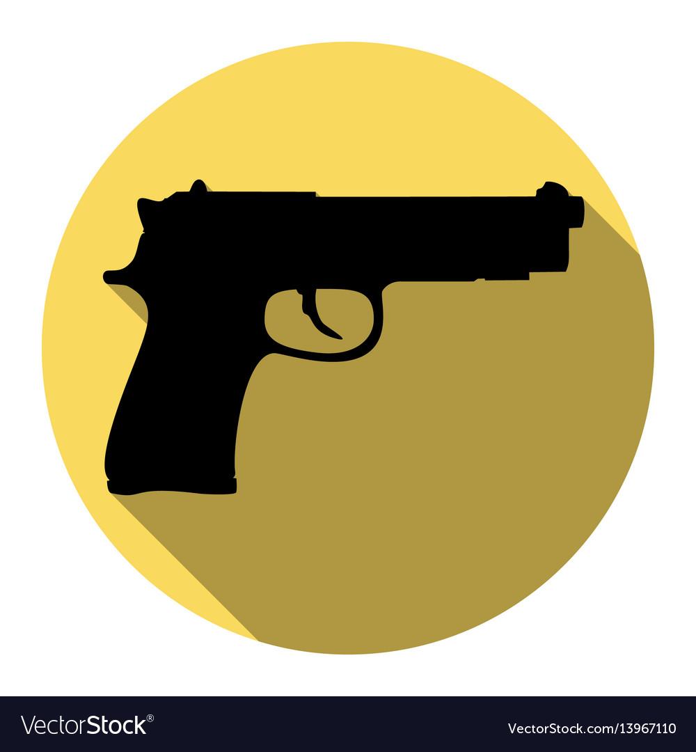 Gun sign flat black icon