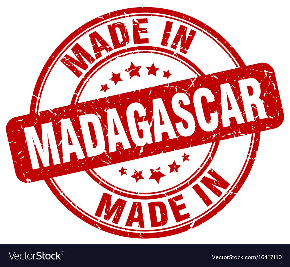 Made in madagascar red grunge round stamp