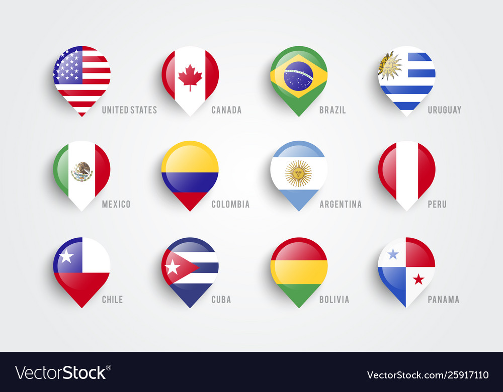 Map pointers with flag america