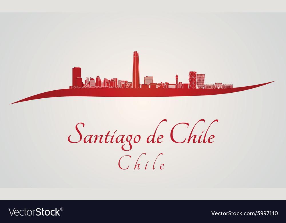 Santiago de Chile skyline in red