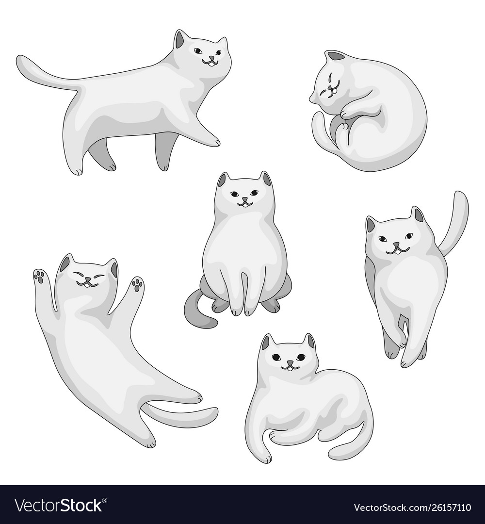 Set cartoon white cats
