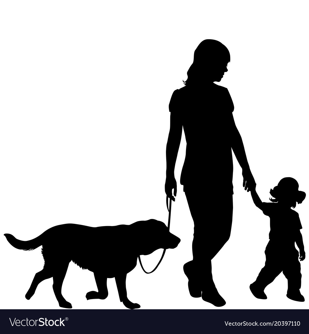 Silhouettes of woman with kid and dog