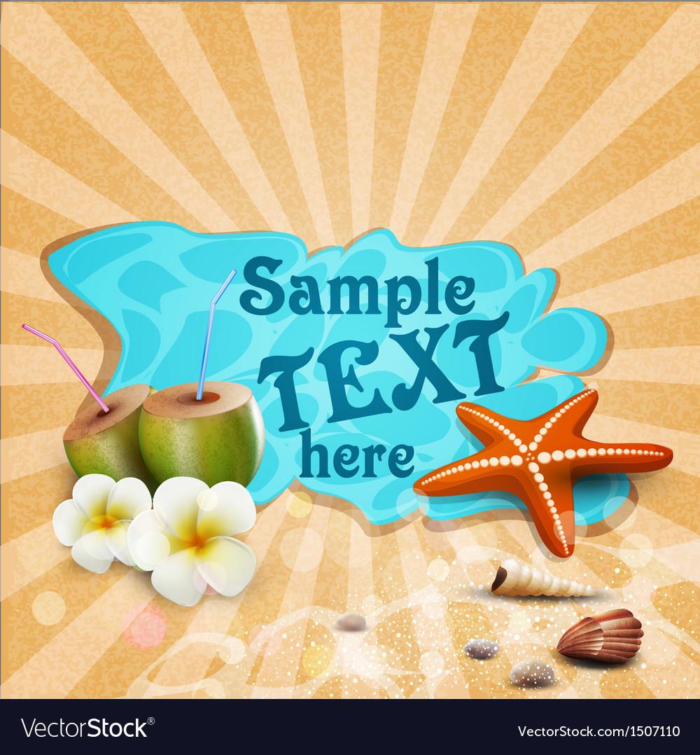 Tropical banner with seashells starfish vector image
