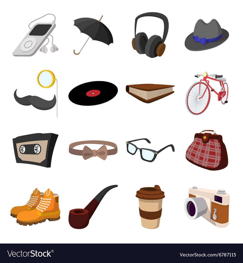 16 hipster style cartoon elements