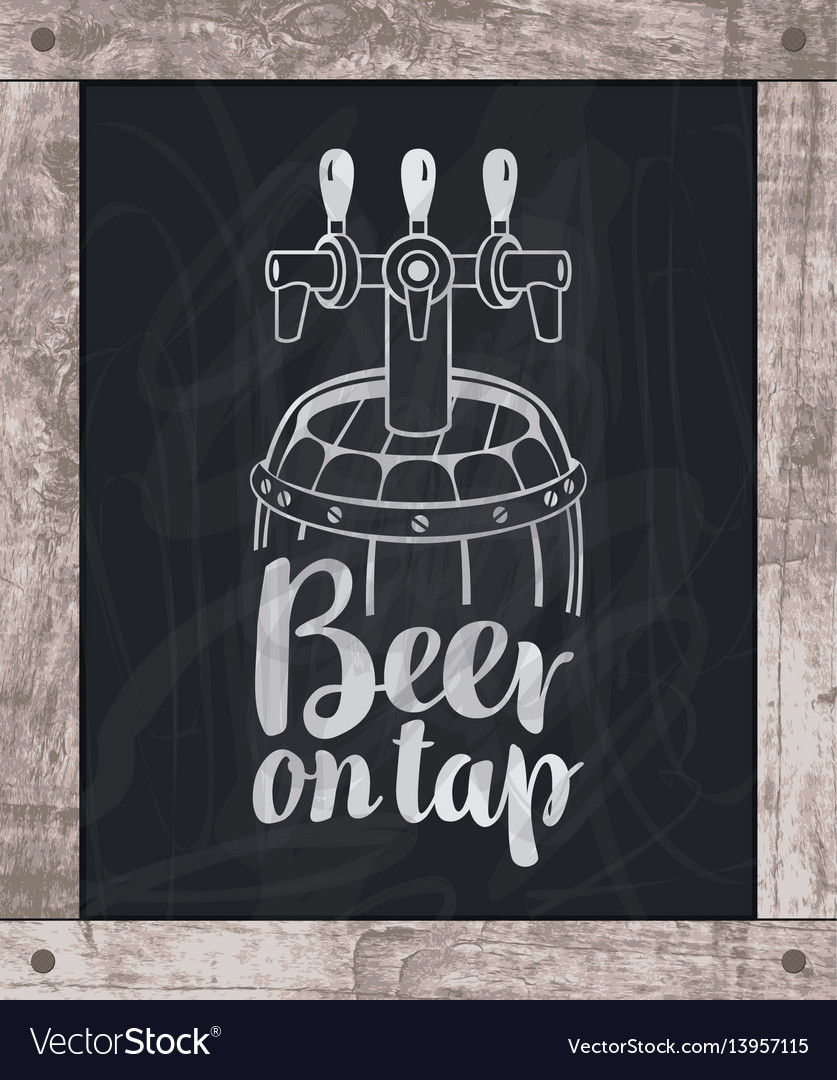 Beer barrel drawing chalk on board in wooden frame