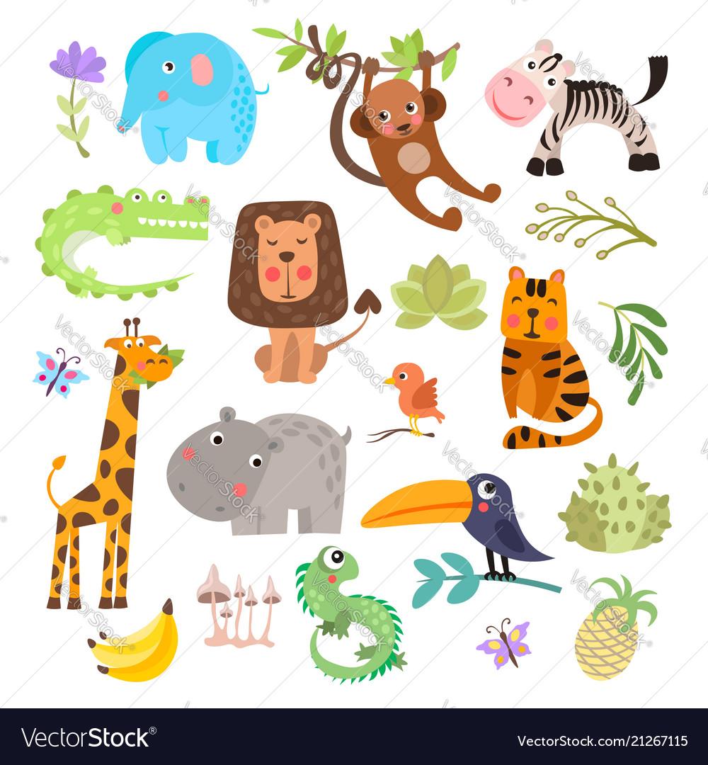 Cute set safari animals and flowers savanna