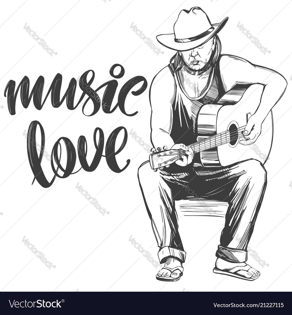 Guitarist plays guitar love music calligraphy