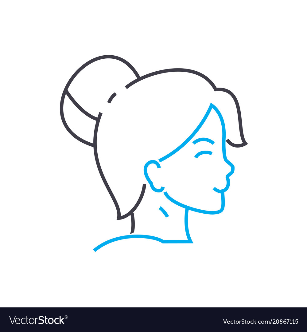 Lady hairstyle thin line stroke icon lady