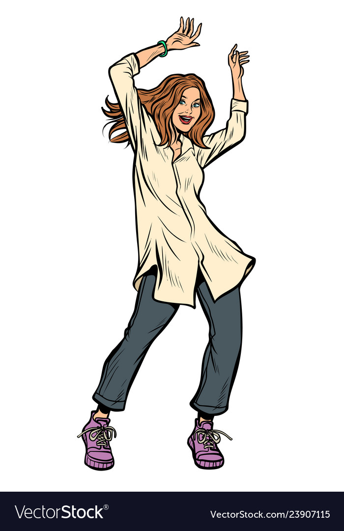 Modern woman dancing disco music shirt and pants