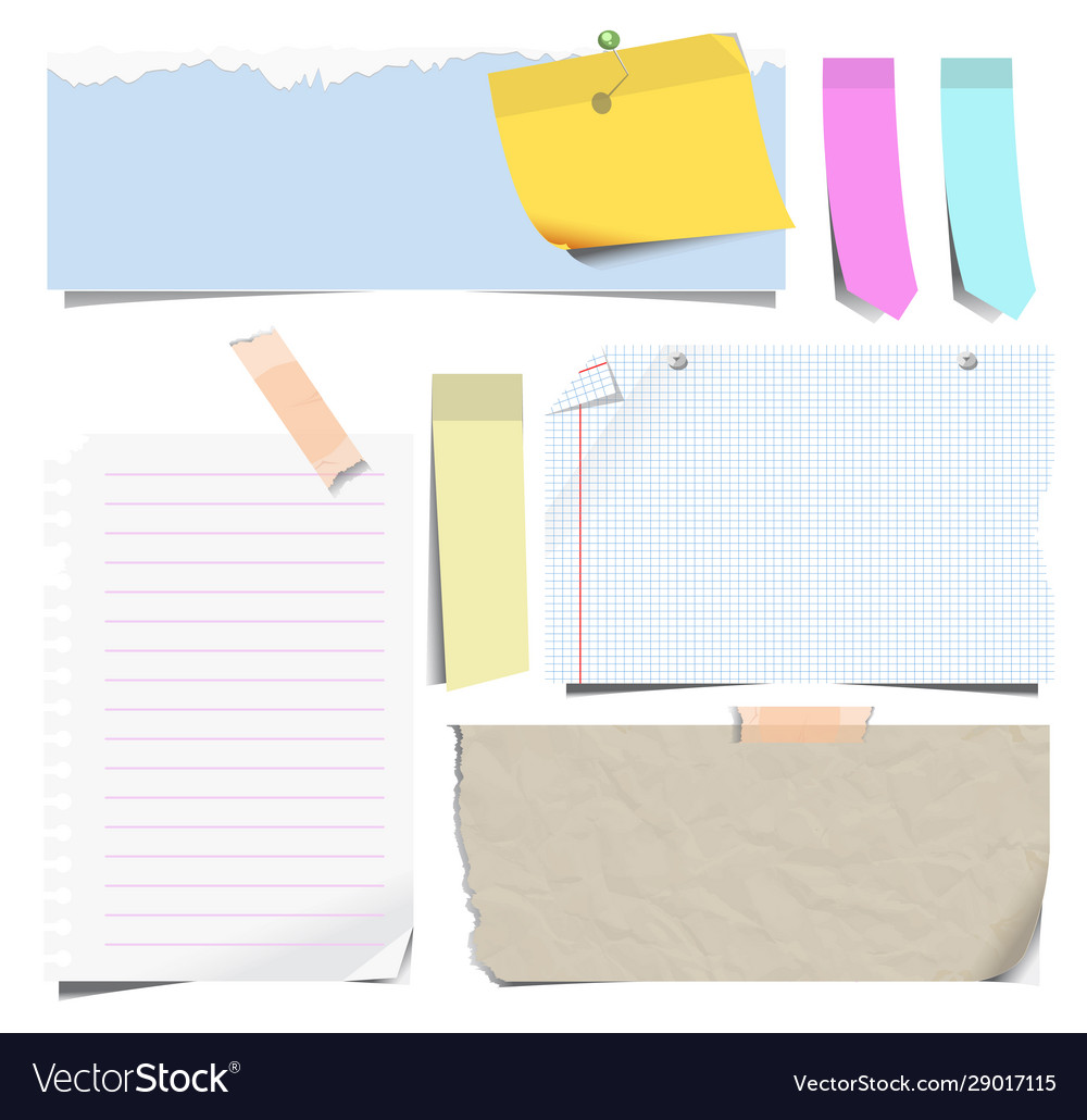 Notebook sheets or note papers and bookmarks