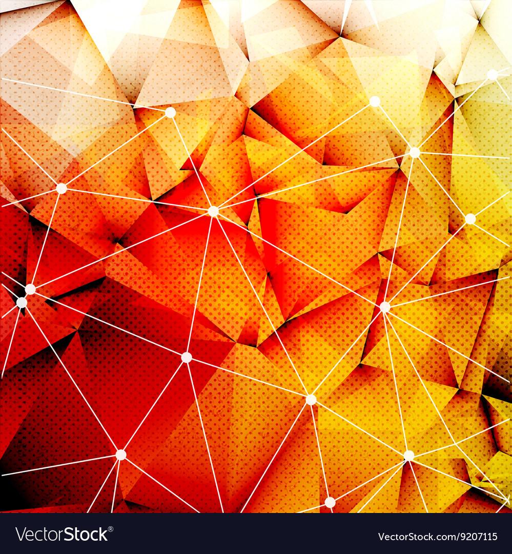 Polygonal Red Orange Triangles Techno Textured vector image