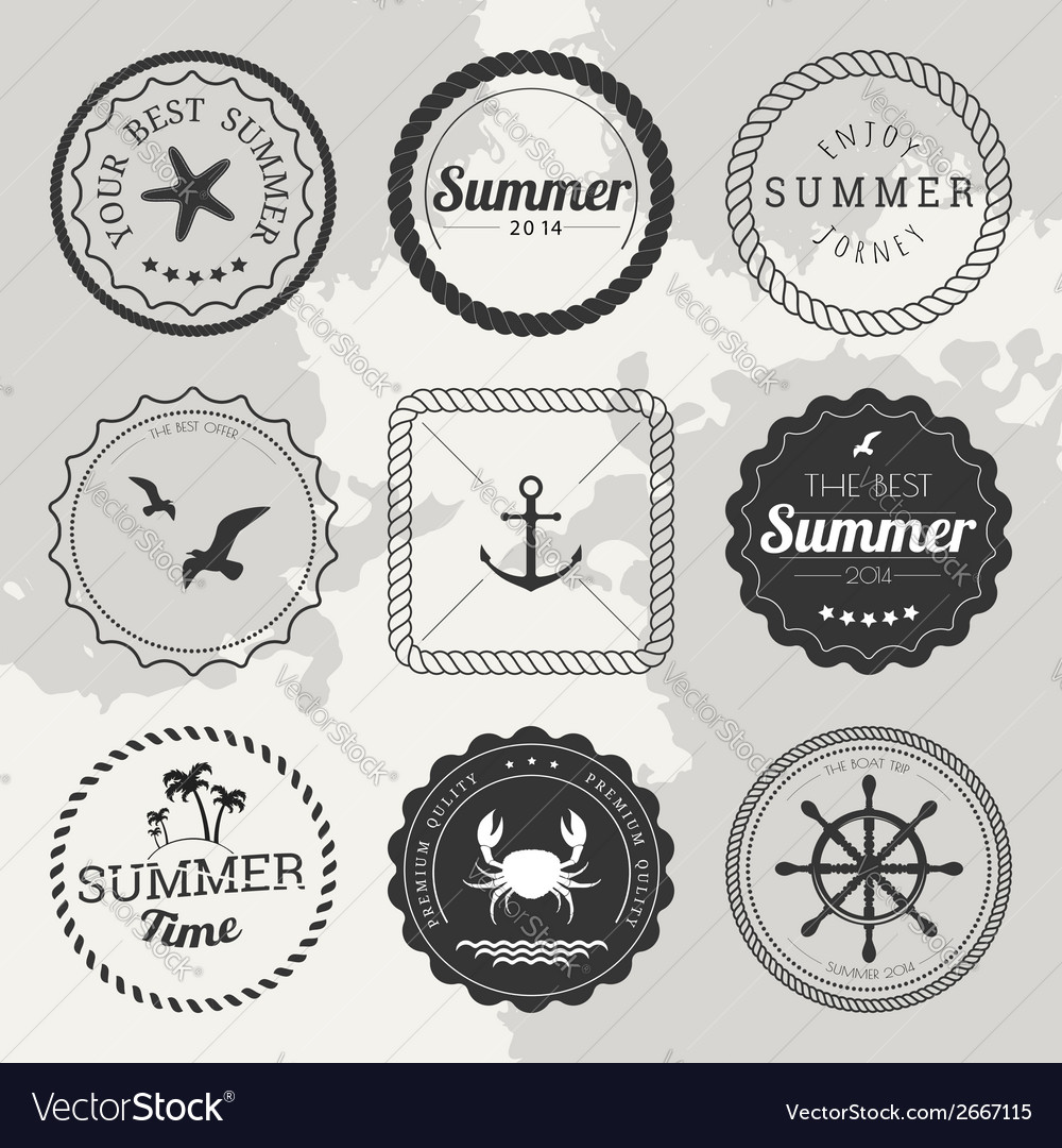 Set of 9 design summer elements frames borders