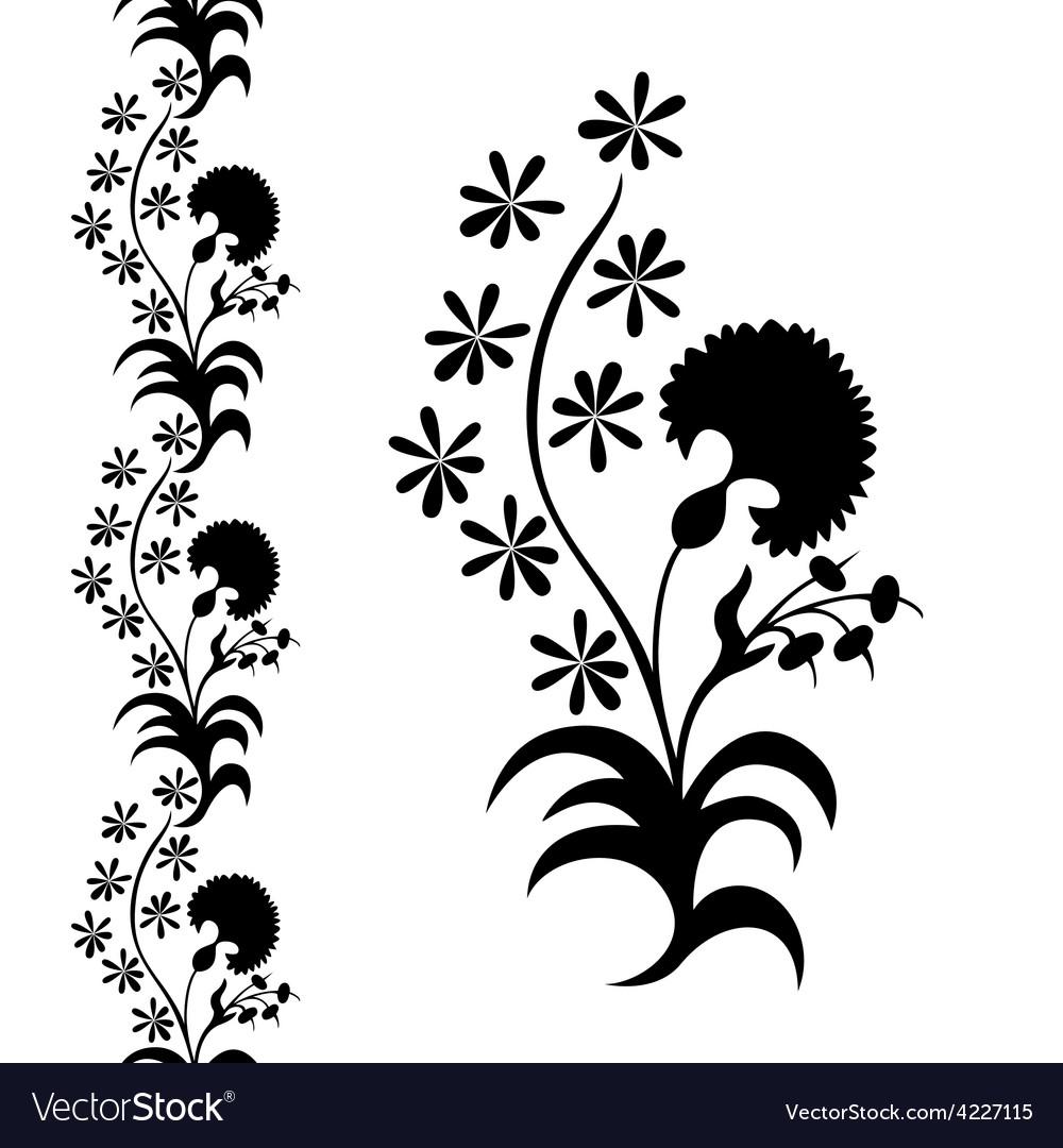 Silhouette flower black pattern