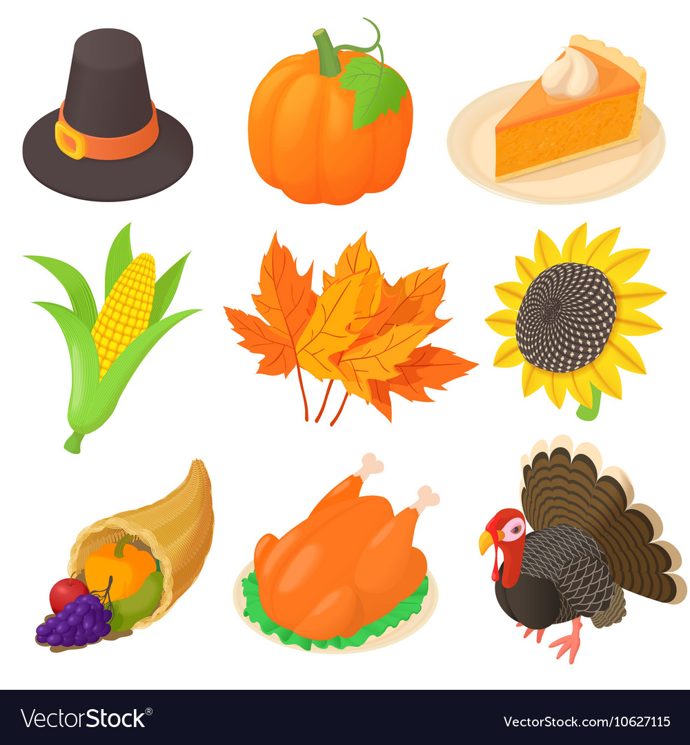 thanksgiving icons set cartoon style royalty free vector