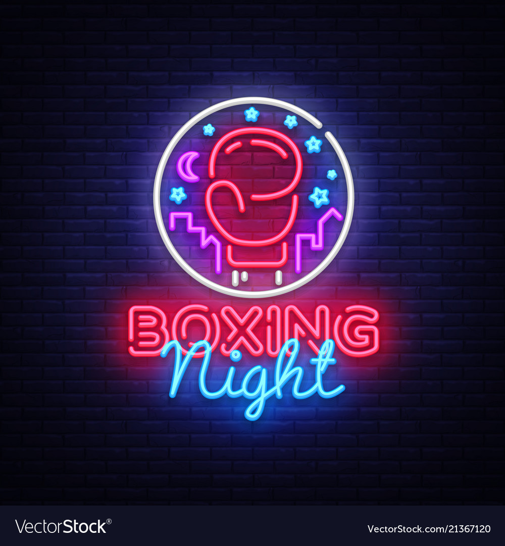 Boxing neon sign boxing night design