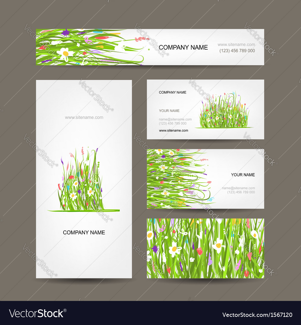 Business cards collection green meadow design