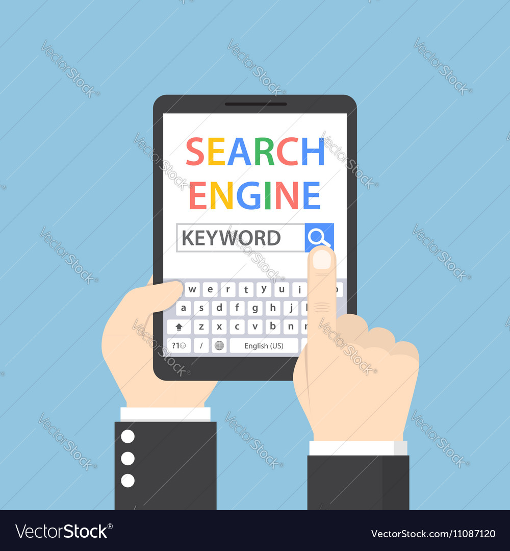 Businessman searching for keyword on search engine