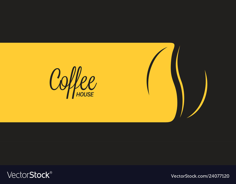 Coffee banner with coffee bean on black and yellow