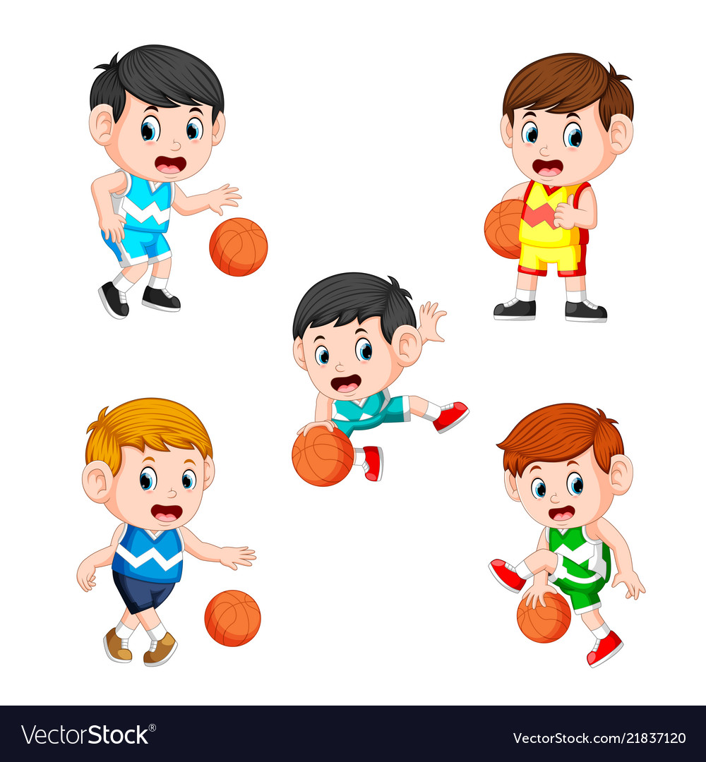 Collection of the basketball children player