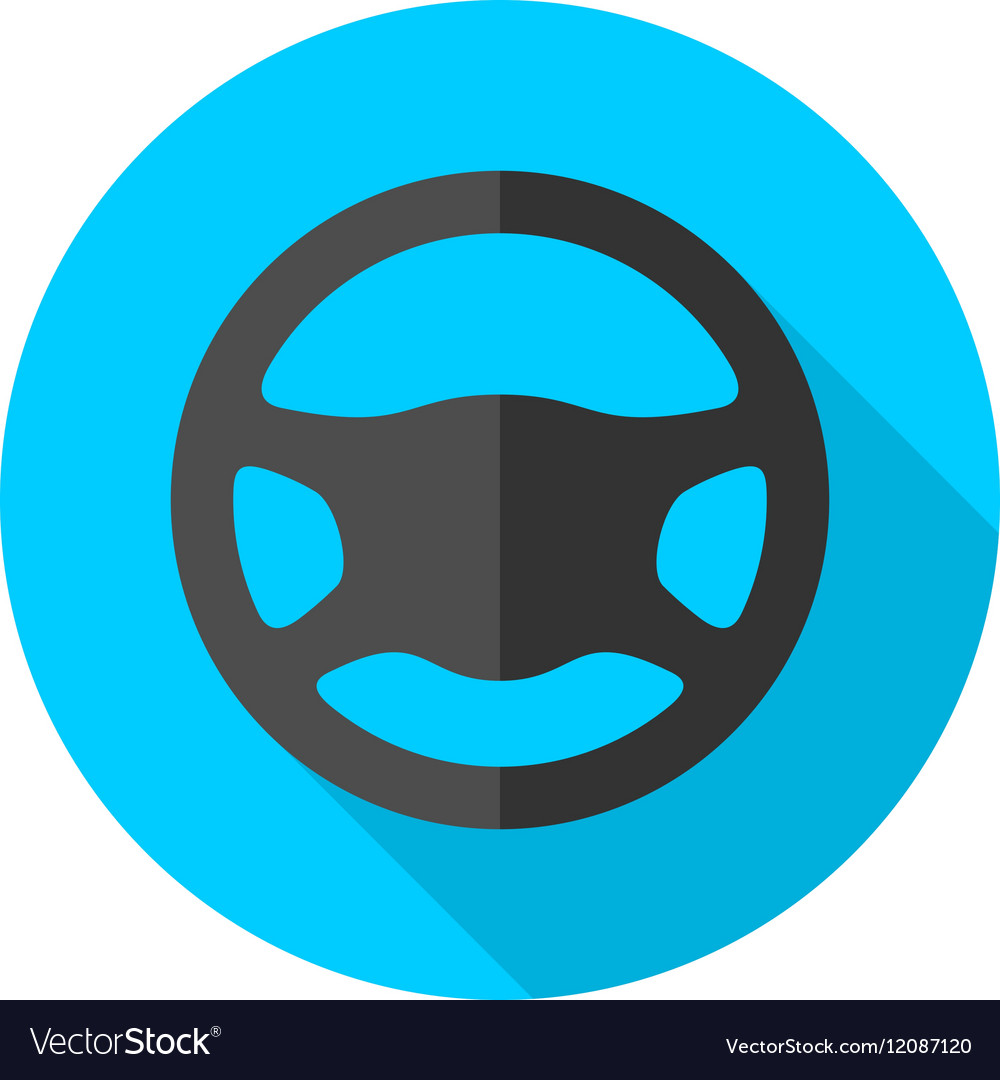 Driving wheel simple flat round icon
