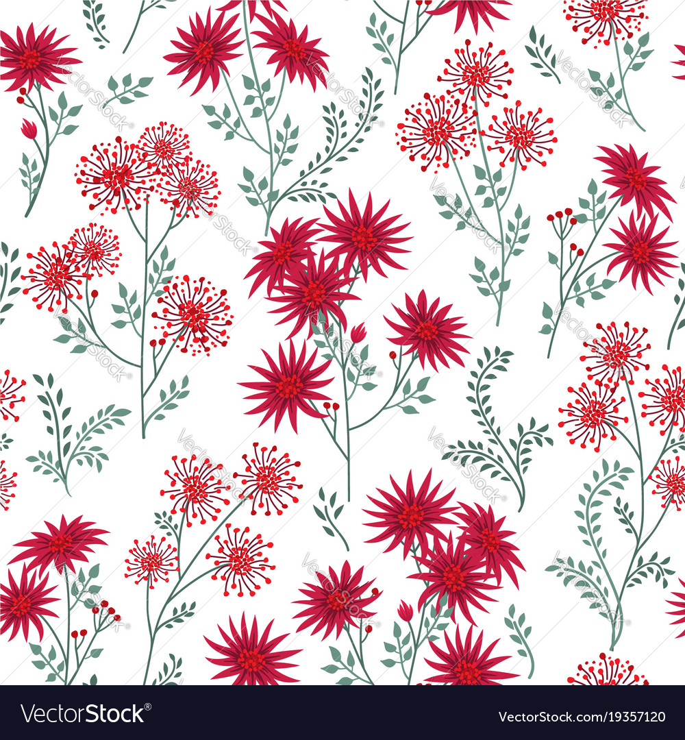 Floral White Winter Pattern Leaves And Flowers Vector Image