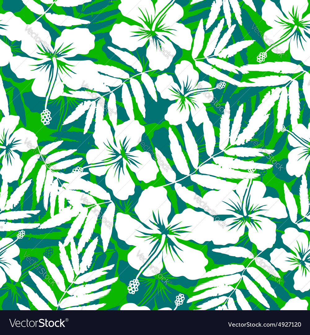 Green and white tropical flowers silhouettes