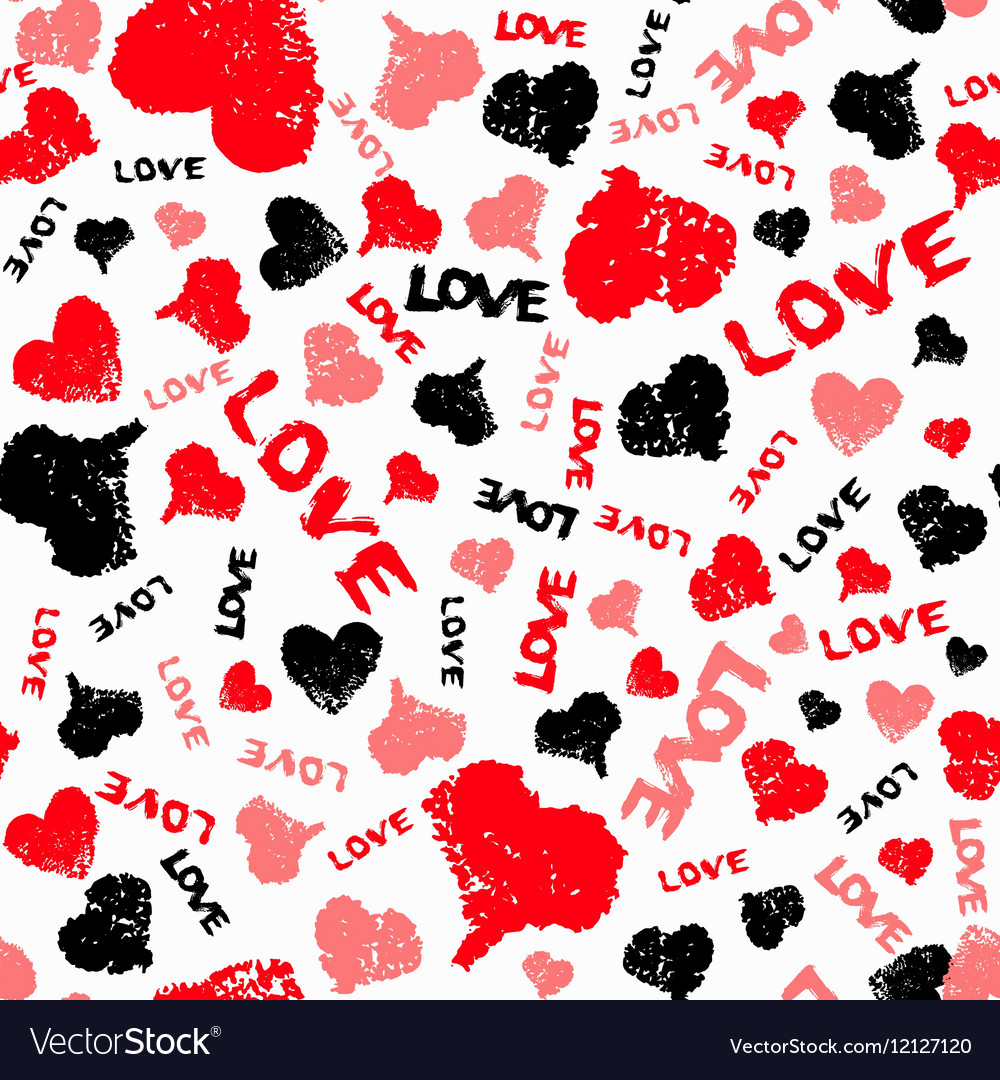 Hearts Valentine Background with Painted Love Word