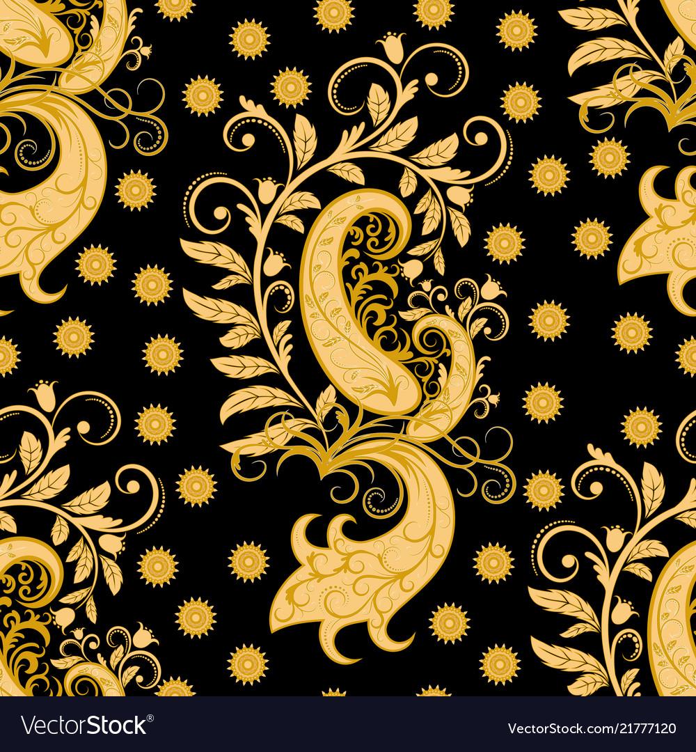 Ornate seamless golden floral pattern