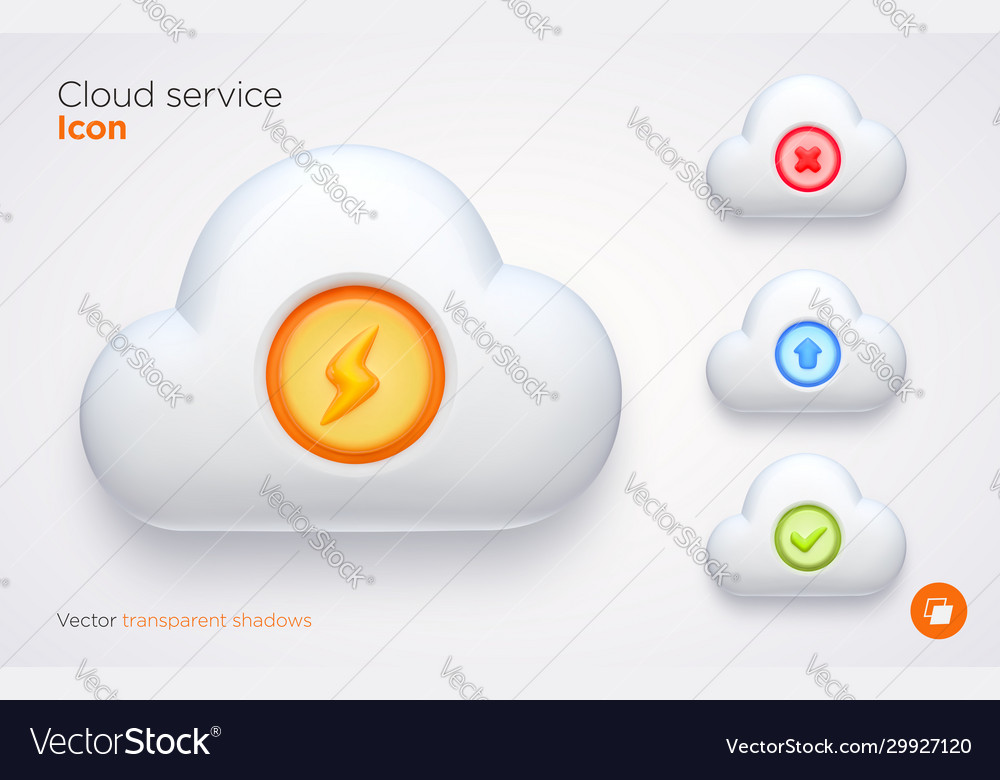 Set computer cloud icons with transparent