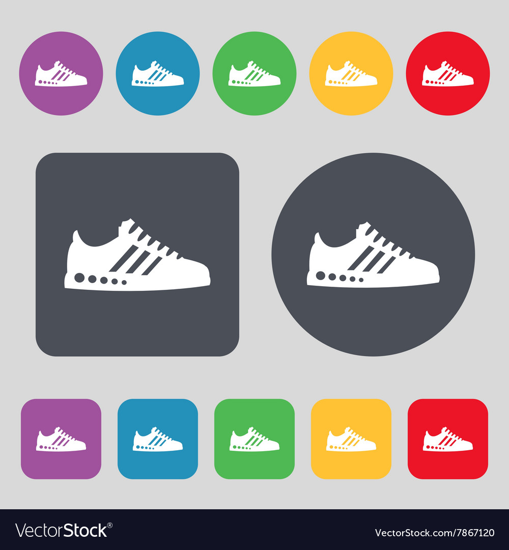 Sneakers icon sign A set of 12 colored buttons