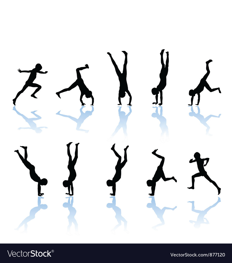 The boy somersault vector image