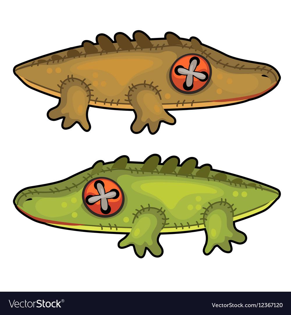 Two handmade soft toys crocodile animal