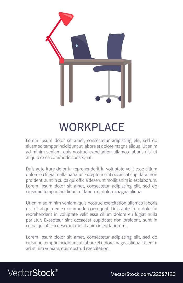 Workplace design table with computer laptop chair