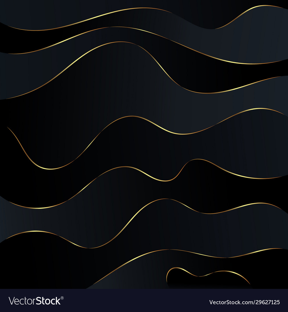 Abstract black waves background gold glitters wave