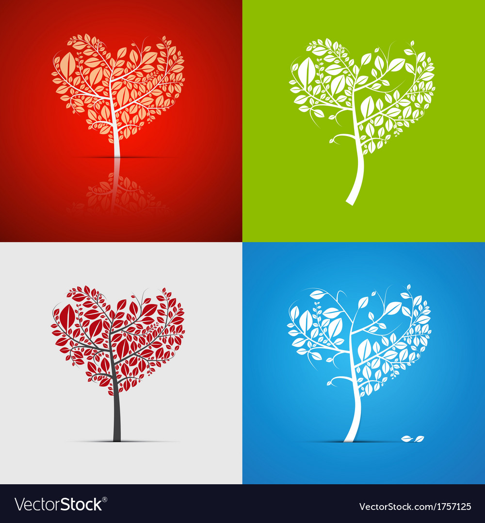 Abstract Heart-Shaped Tree Set on Green Red White