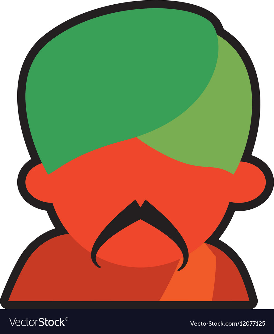Avatar face indian man mustache green turban icon