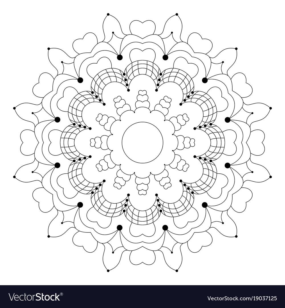 Black and white circular flower mandala