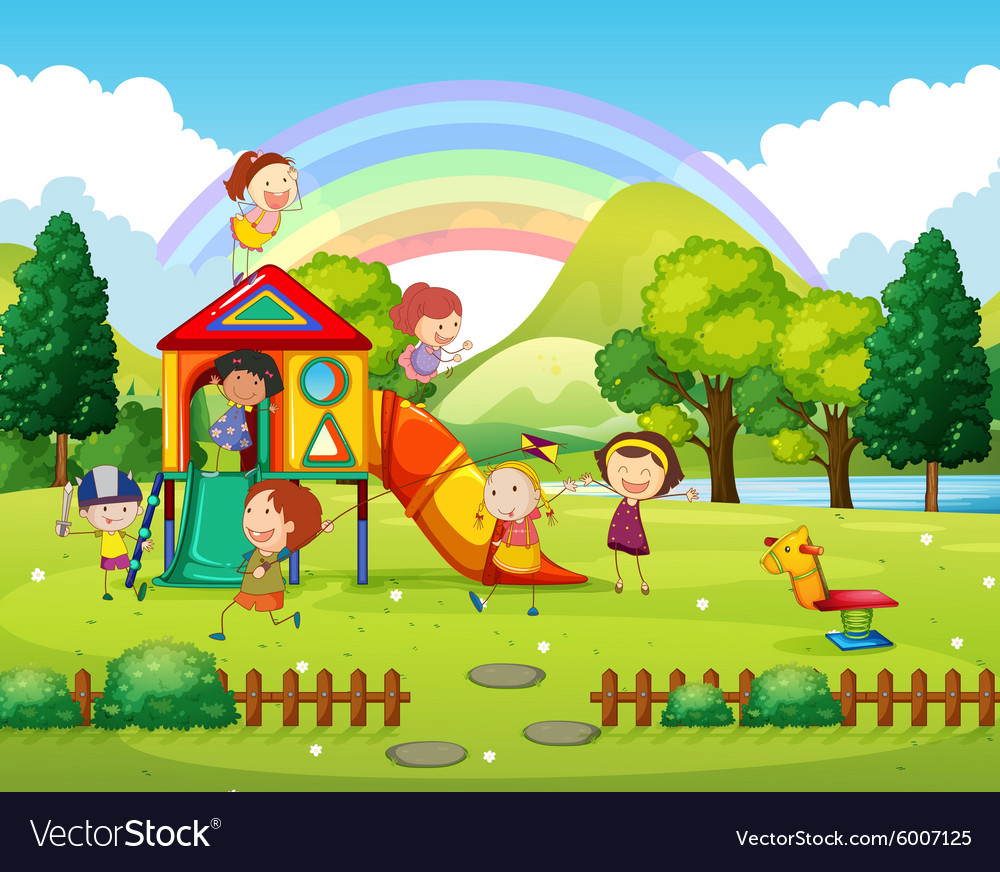 Children playing in the park at daytime vector image