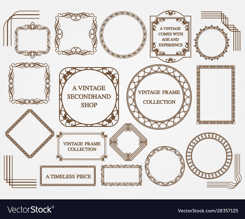 Set assorted vintage frames