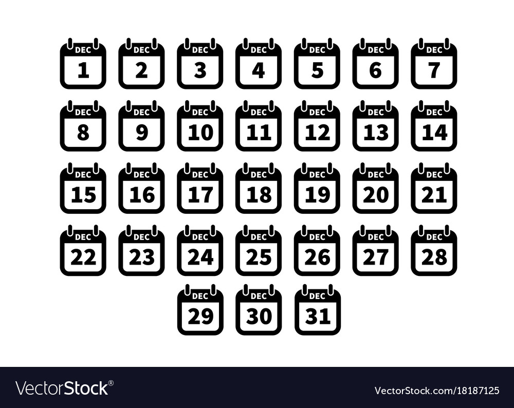 Set of simple black calendar icons on december vector image