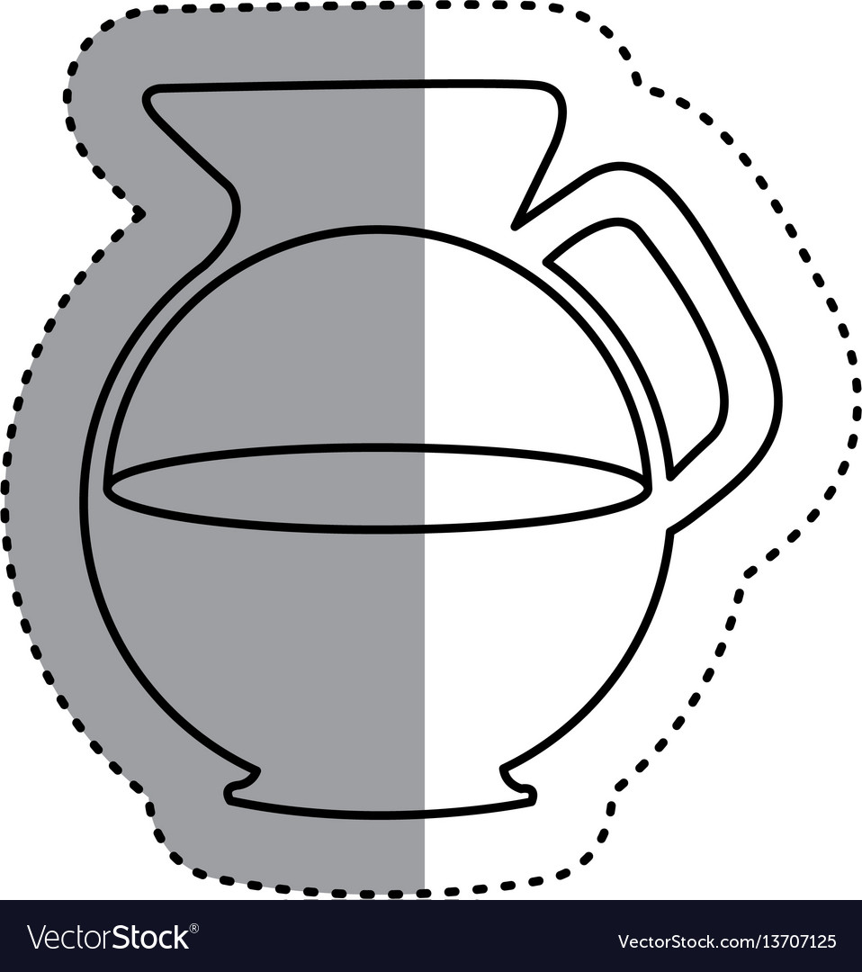 Sticker silhouette glass jar of coffee with handle