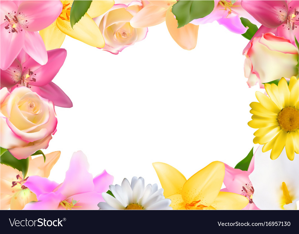 Abstract frame with lily rose and other flowers
