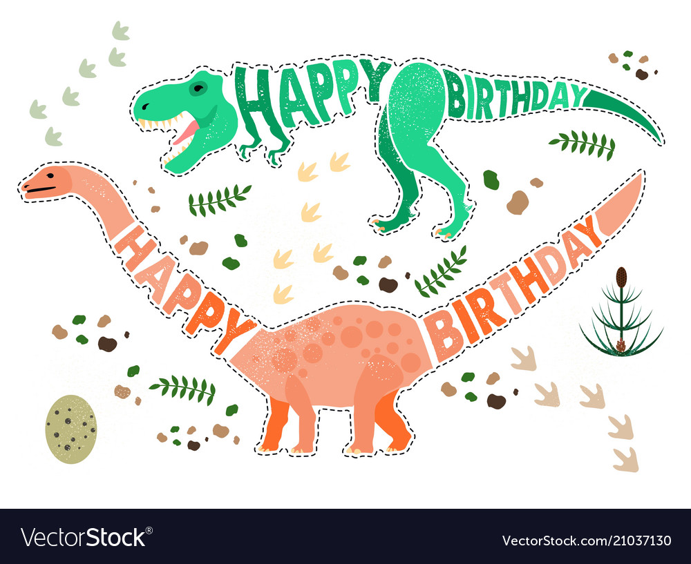 Birthday card with dinosaur vector