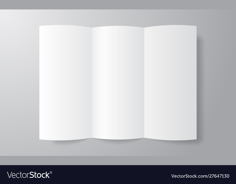 Blank trifold paper brochure mockup on soft gray