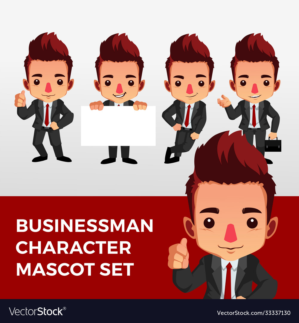 Business man character mascot set logo icon