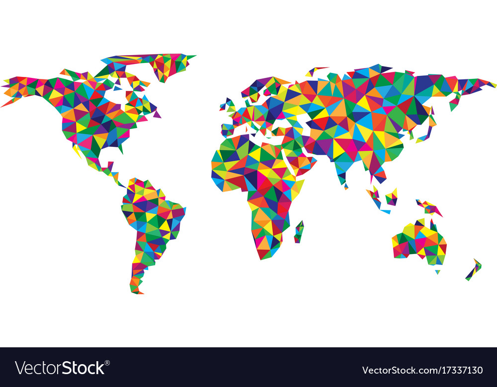 Colorful Geometric Abstract World Map Royalty Free Vector