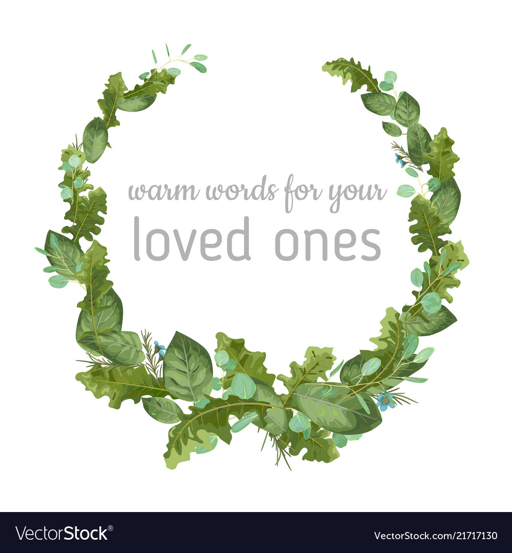 Foliage watercolor pattern wreath frame leaves of