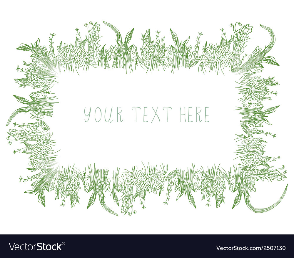 Grass frame background hand drawn vector image
