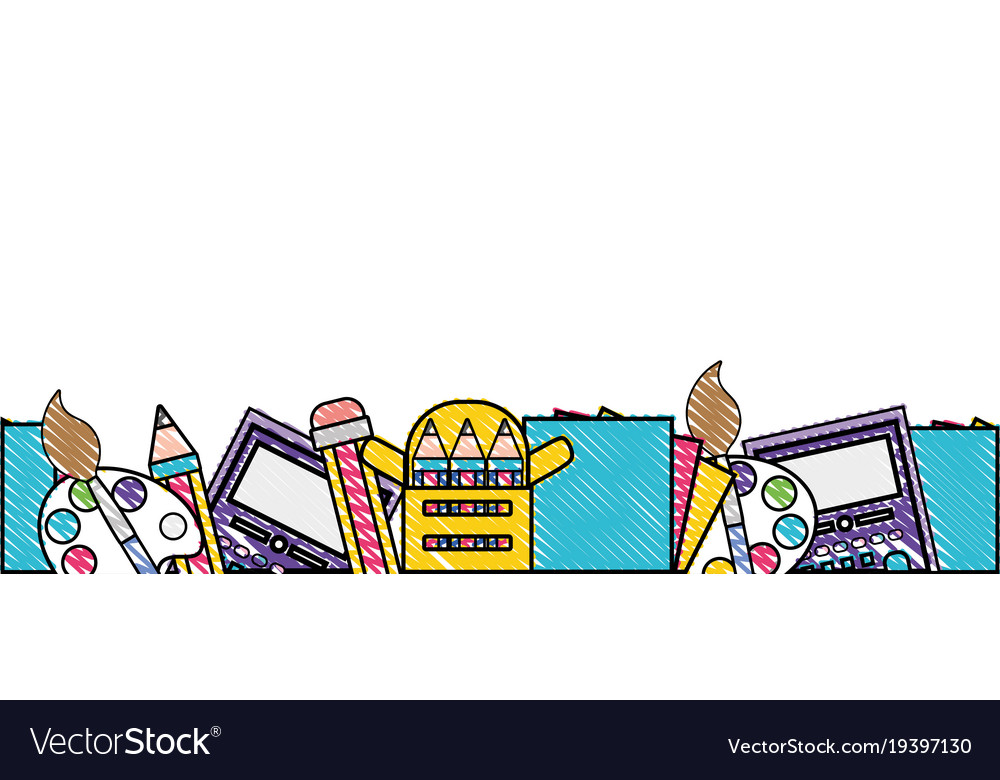 Grated education school tools background design Vector Image