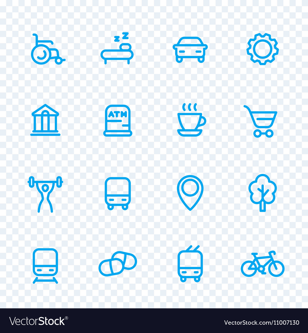 Line icons set for map pictograms signs for city vector image